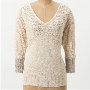 Anthropology Sparrow Cream Color V-neck Sweater